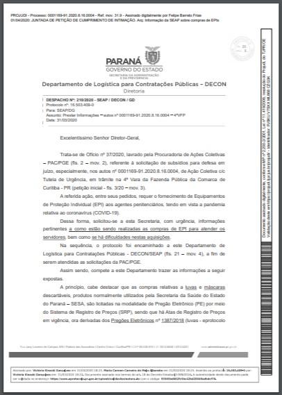 Informação DECON - Compr EPI